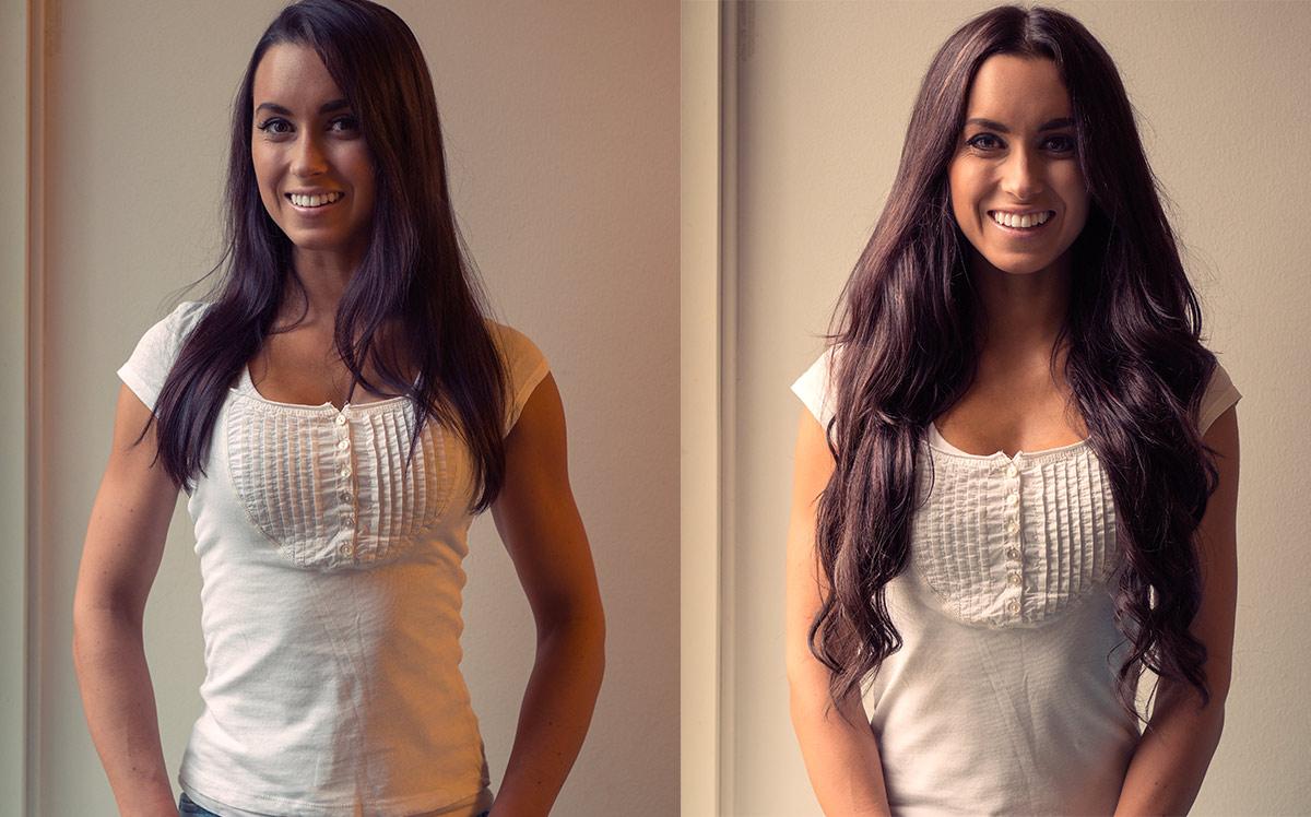 Ennen ja jälkeen – hiustenpidennykset