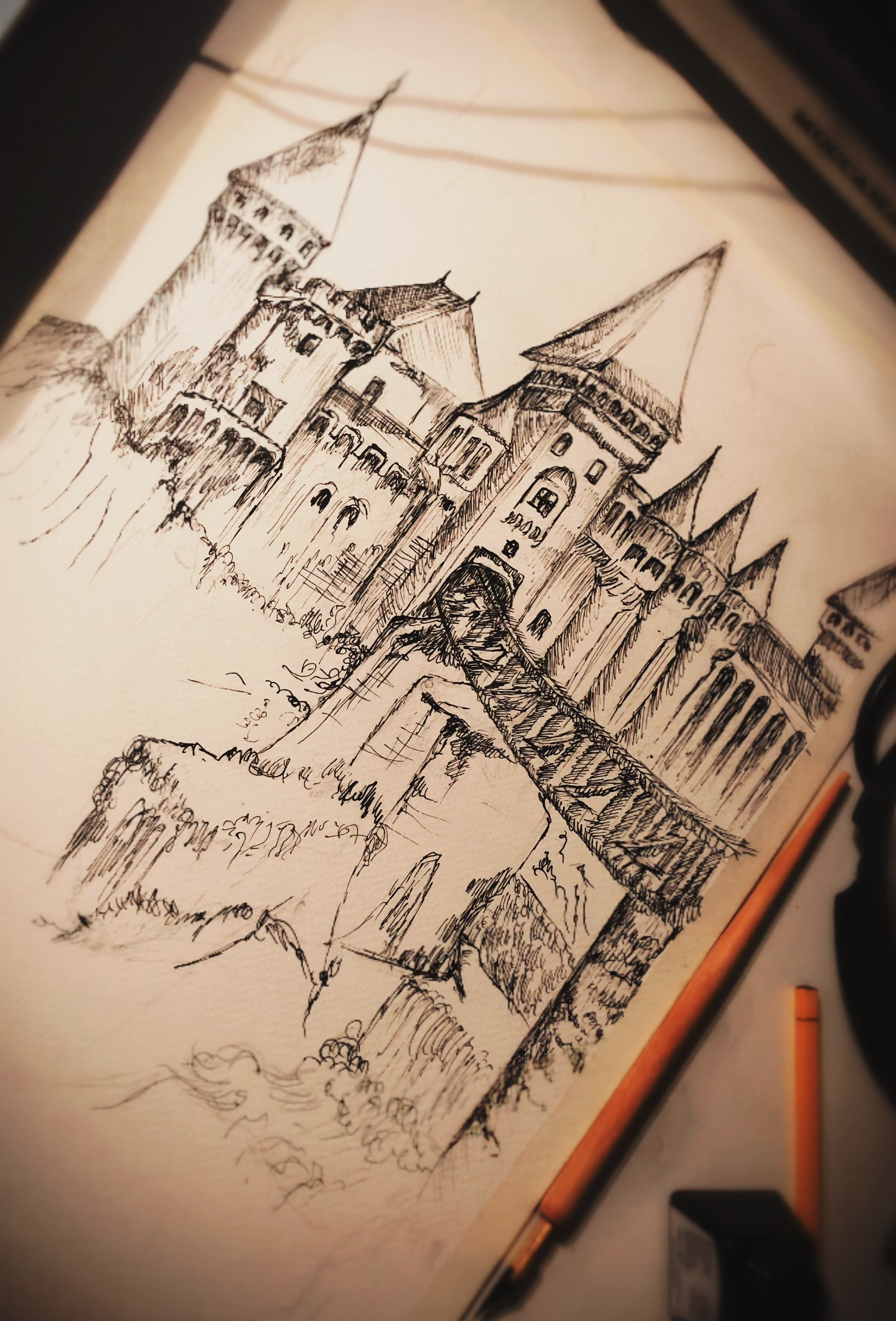 taidekurssi-mustekynalla-piirtaminen