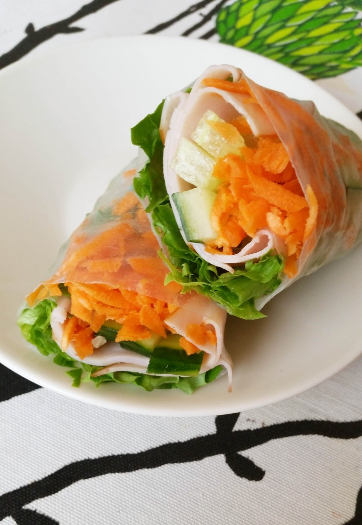 Kevyt nopea lounas; riisipaperi-rullat