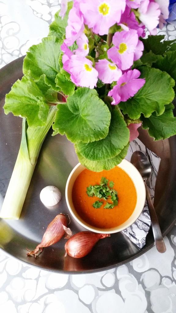 Herkullinen kermainen sosekeitto paahdetuista paprikoista ja sipuleista (maidoton, vegaani)