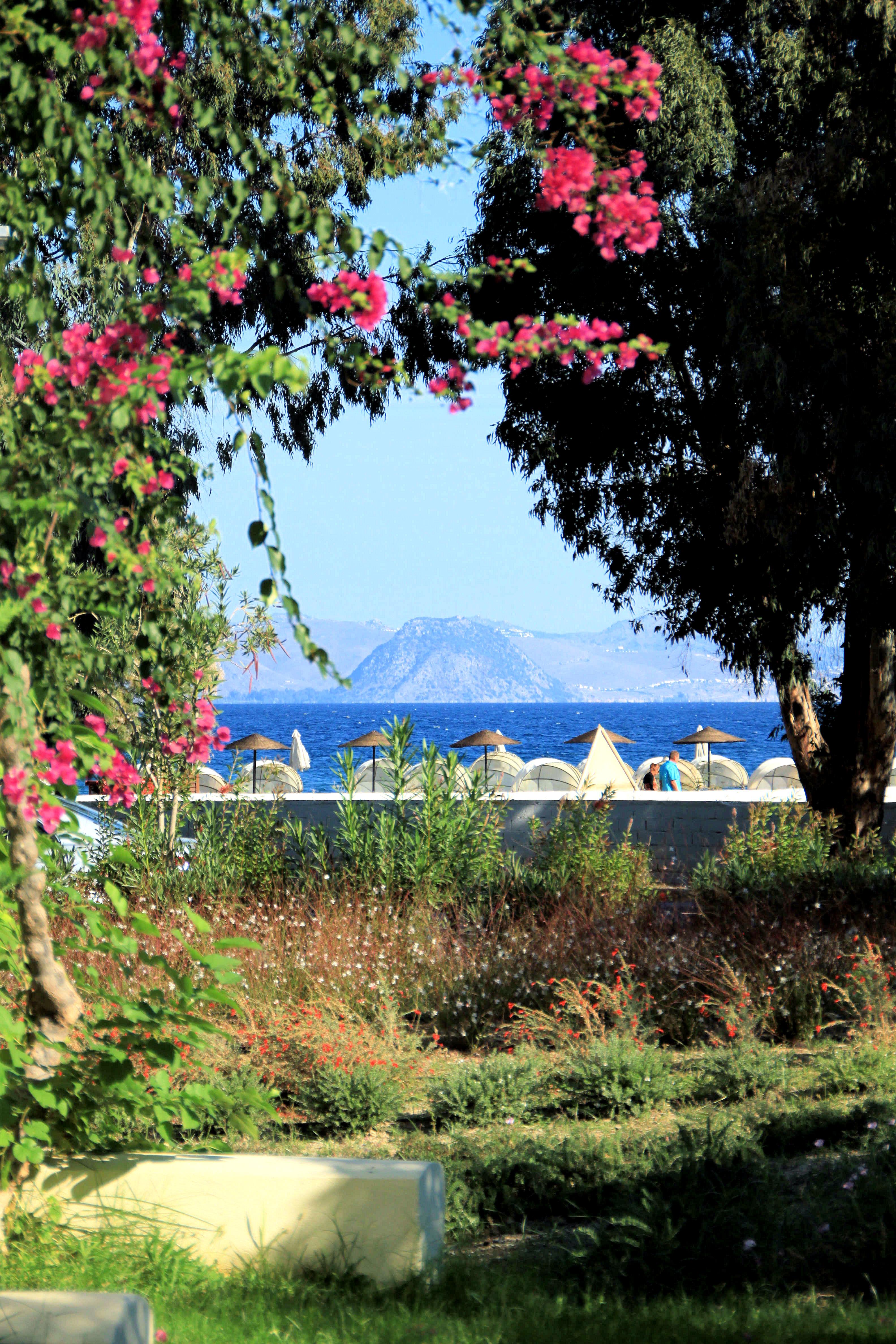 Meidän hotelli sijaitsi Psalidin alueella, noin 3-4 km keskustasta. Tässä maisema merelle hotellialueelta.