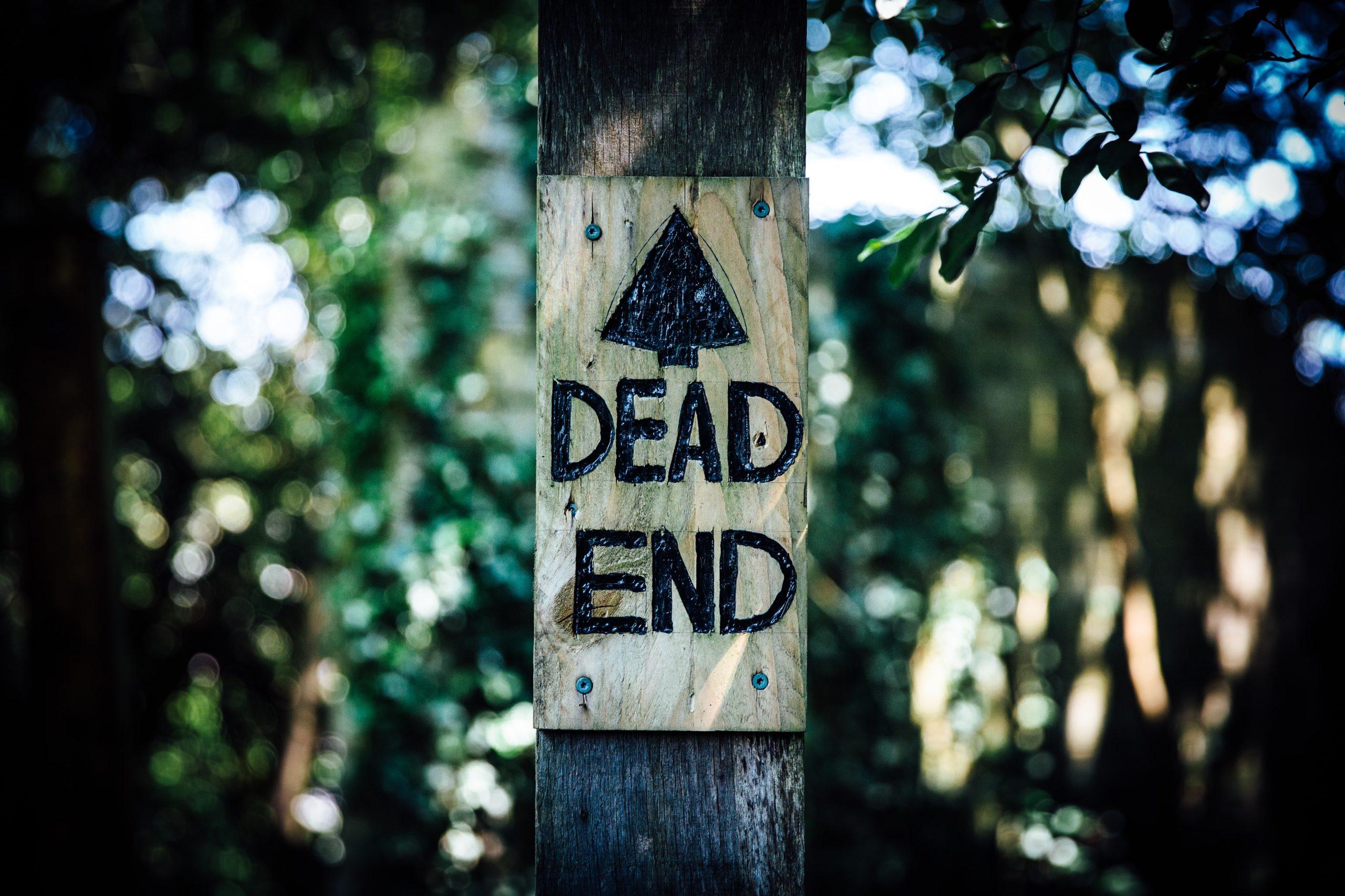 """Kuvassa on kyltti, jossa lukee """"Dead end""""."""