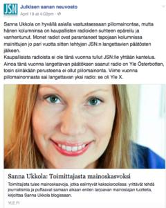 Kaupallisista radioista ja Ylestä, Sanna Ukkolasta sekä hutkivasta journalismista