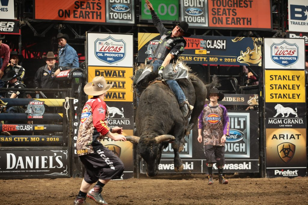 Robson Palermo rides New Frontier Rodeo's Spitball for 84.75 during the second round of the Kansas City Built Ford Tough series PBR. Photo by Andy Watson/Bull Stock Media. Photo credit must be given on all use.