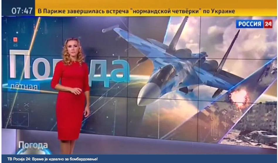 Venäjän valtion omistaman uutiskanavan säätiedotuksessa analysoitiin lokakuussa hävittäjäkoneiden lento-olosuhteita.
