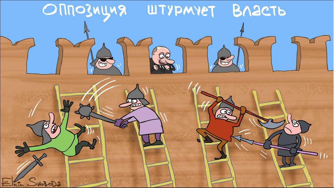 Oppositio vallanpitäjien kimpussa. @Sergei Jolkin