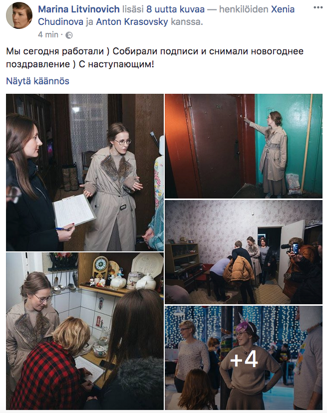 Ehdokas Ksenja Sobtšak keräämässä allekirjoituksia. (Kuva vaalikampanjasta Marina Litvinovitšin Facebook-sivulta.)