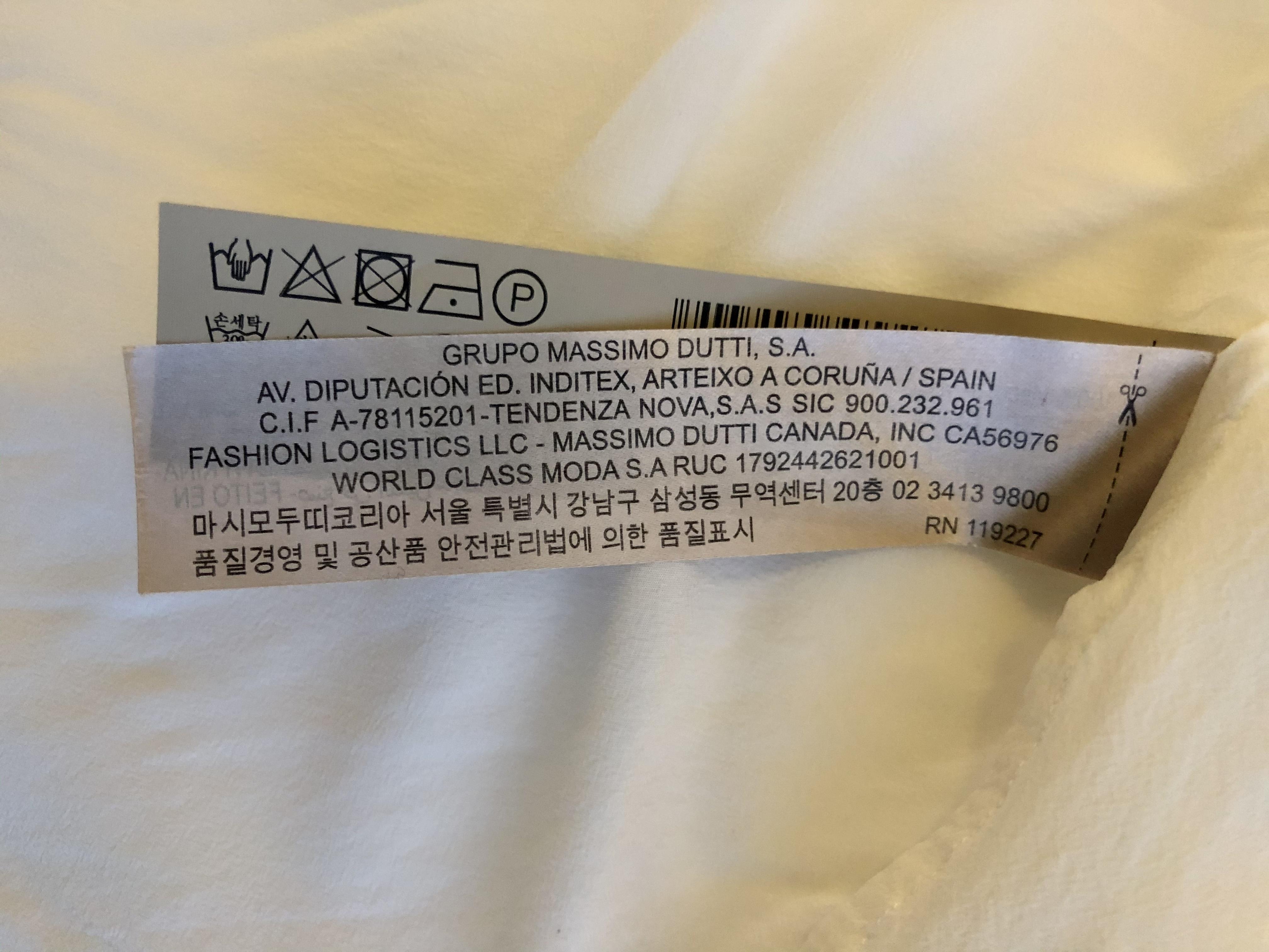 Allerginen reaktio vaatteesta tuotelappu