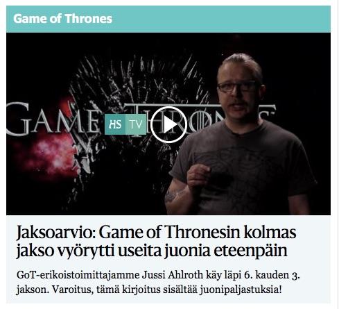 HS arvostelee Game of Thronesin joka jakson – voisiko kirja saada vastaavan huomion?