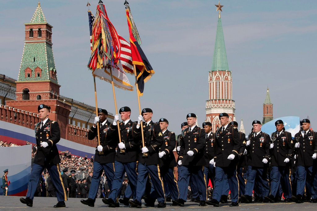 Soldiers of the 170th Infantry Brigade Combat Team, along with British and French troops, marched in Sunday's Victory Day parade, commemorating the defeat of Nazi Germany in 1945. Credit: Misha Japaridze/Associated Press.