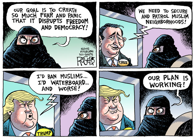 """""""Fear and Panic"""", cartoon by Rob Rogers, , March 25, 2016. © Rob Rogers. Used with express permission of the author."""