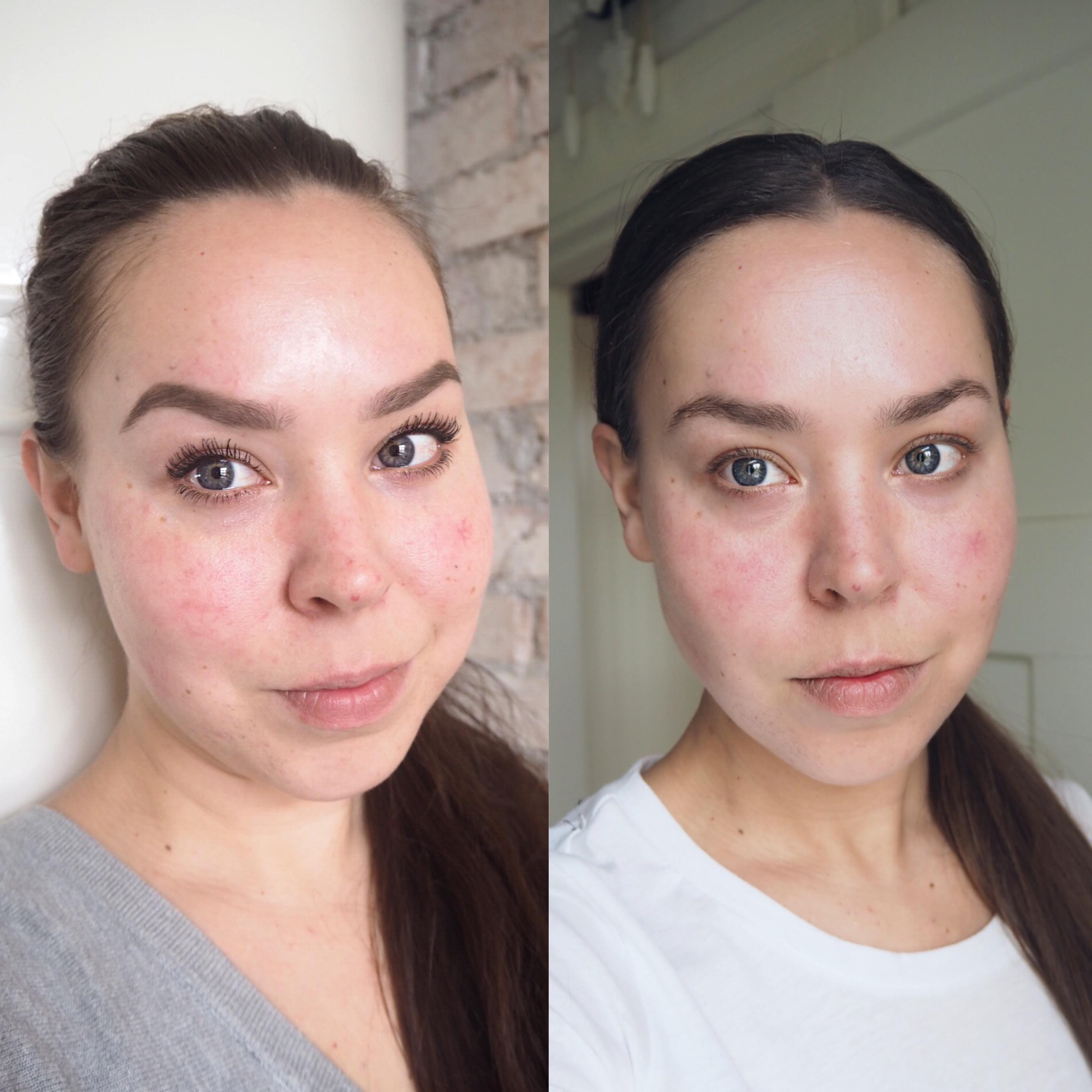 ilman meikkiä ennen ja jälkeen