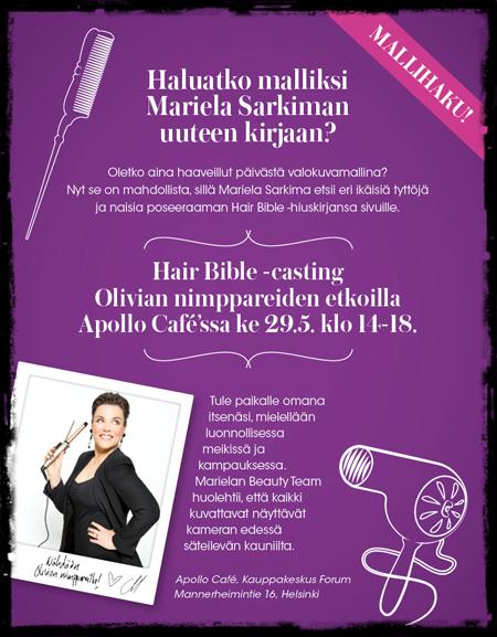 Haluatko hiusmalliksi Marielan uuteen kirjaan?