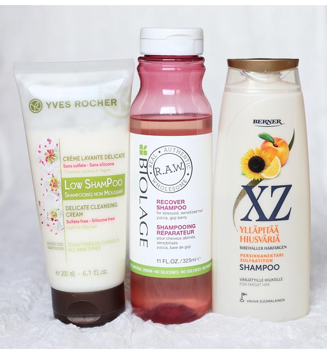 Luupin alla sulfaatittomat shampoot