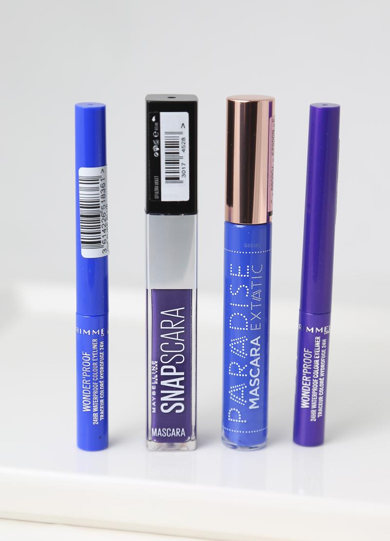 Kesämeikissä sinistä ja violettia maskaraa sekä 2 x pettymys-eyeliner