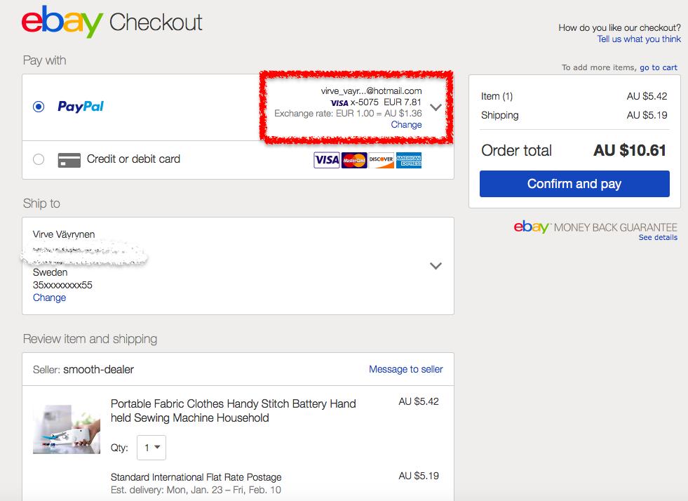 Ebay shoppailu