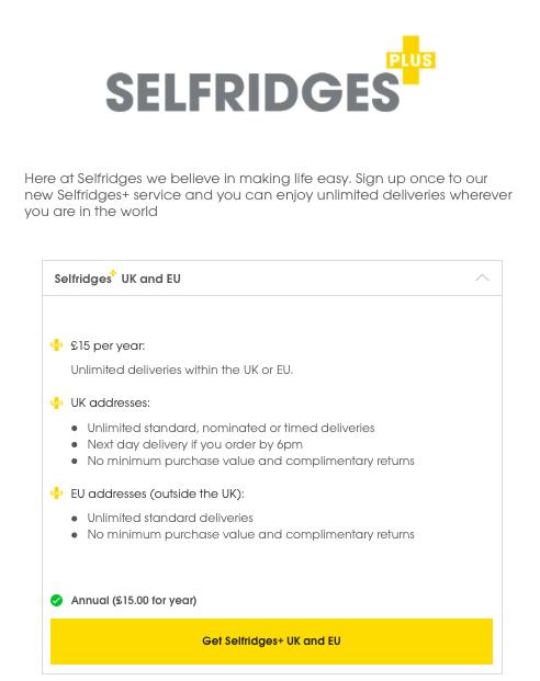 Selfridges toimittaa suomeen