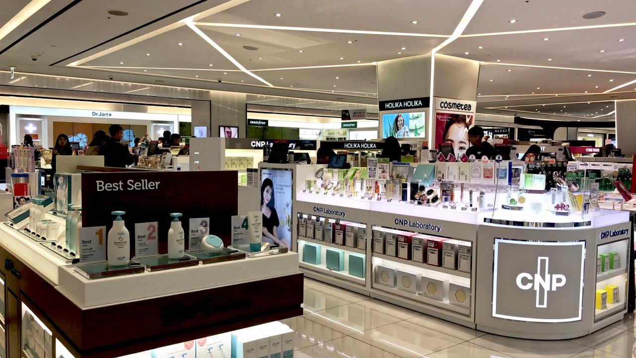 Ostolakossa Shinsegae kosmetiikka Seoul