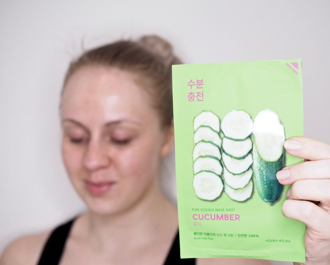 Holika Holika Pure Essence Mask Sheet Cucumber kangasnaamio kokemuksia Ostolakossa Virve Vee