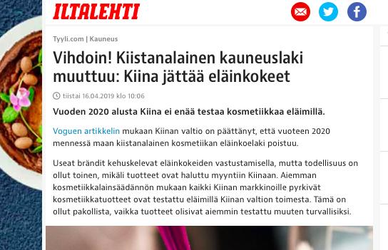 Kiina eläinkokeet kosmetiikka Ostolakossa.