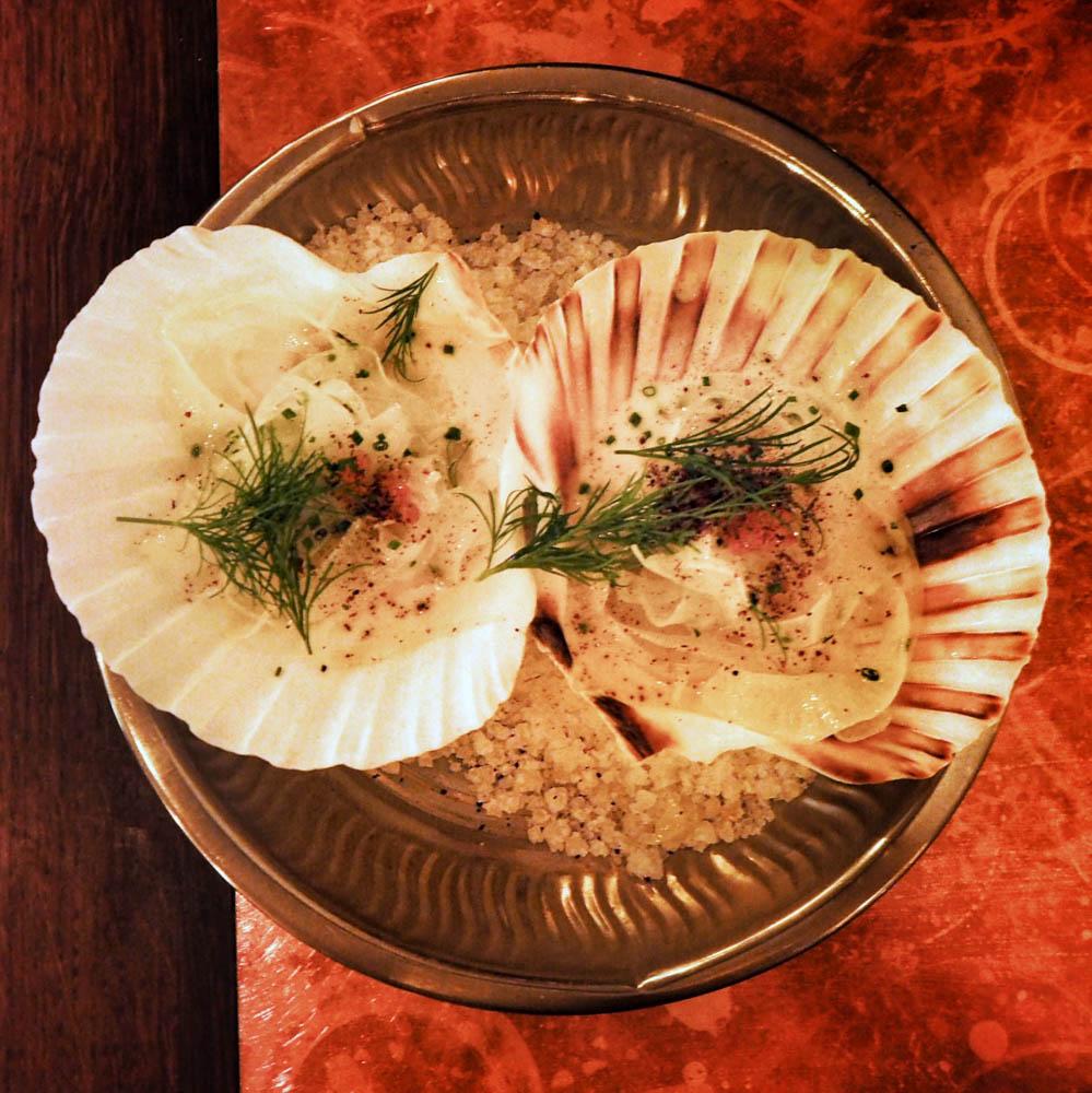 SCALLOP & ANCHOVY 'BAGNA CAUDA' - paistettua kampasimpukkaa, anjoviscremeä, piimädressing, ruskeaa voita, fenkolia, taimenenmätiä