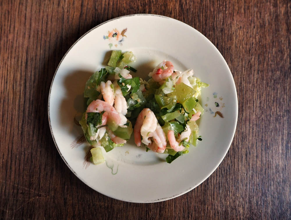 Shrimps & salsa verde