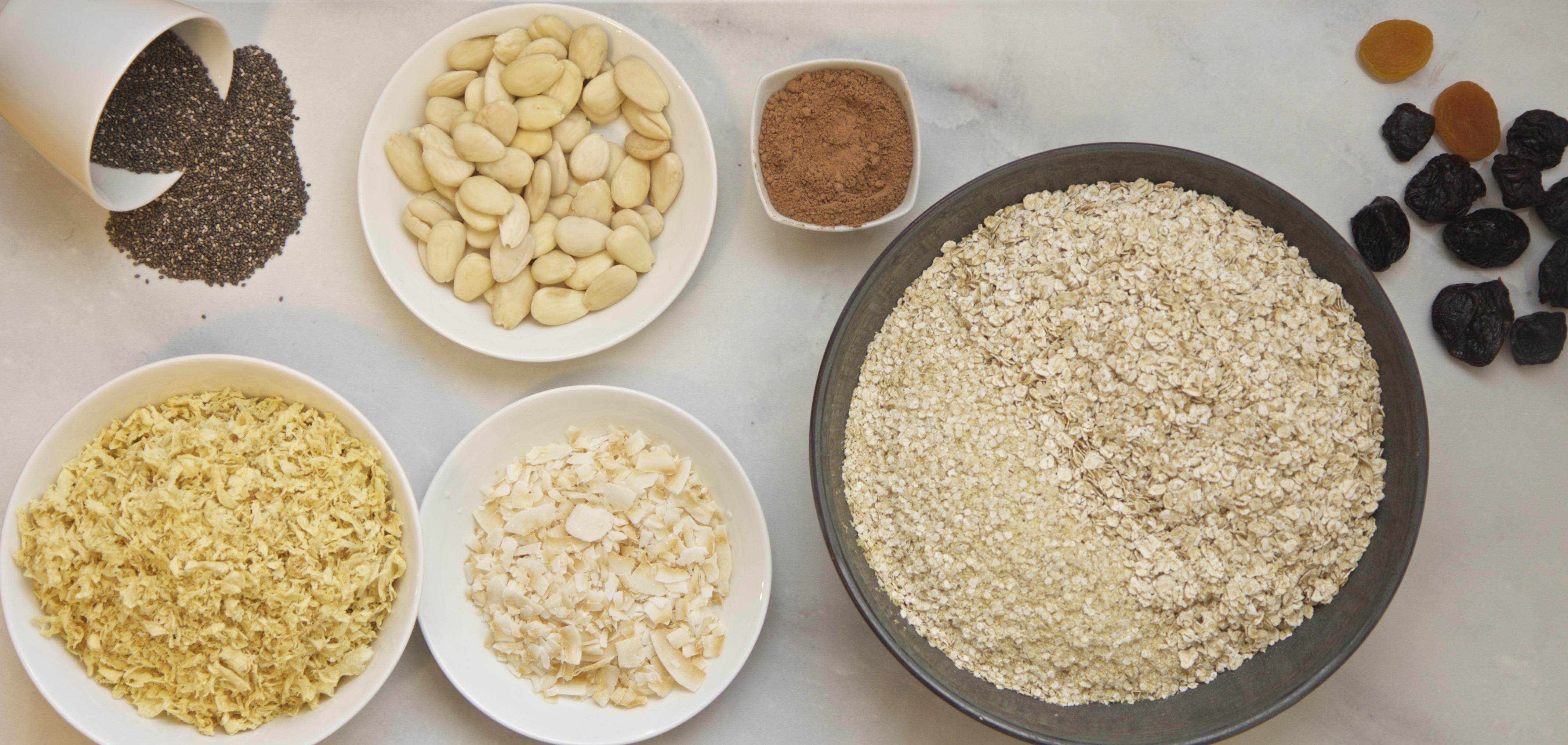 granola-jauheen raaka-aineet