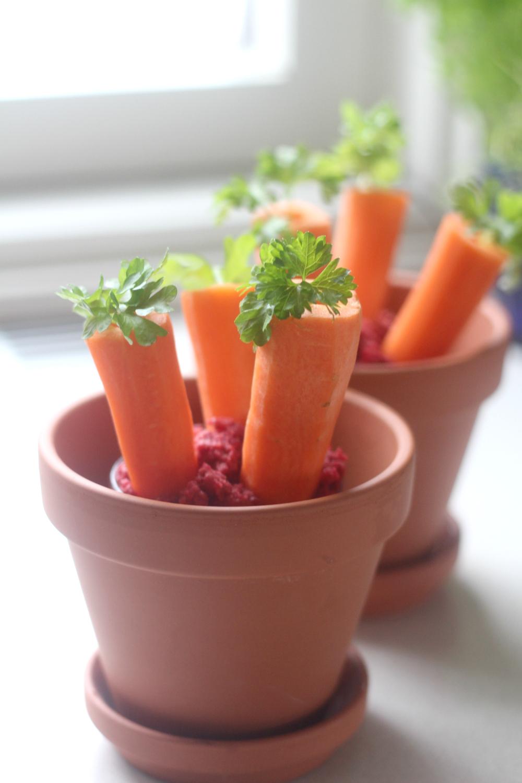 Porkkana-hummusruukut keväisiksi alku- ja välipaloiksi